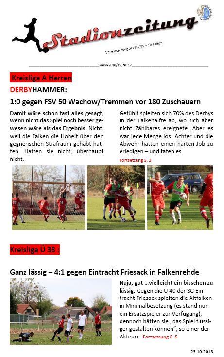 Frisch aus dem Drucker: Stadionzeitung Nr. 17