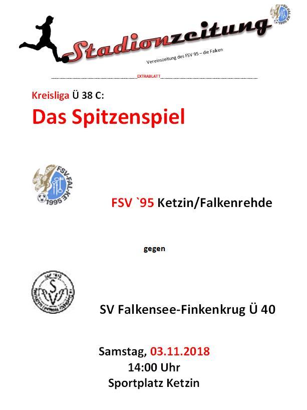 Pflichttermin: Samstag Ü 40 gegen Falkensee-Finkenkrug