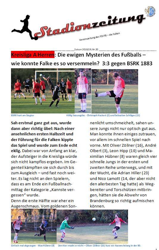 Hier ist sie: Stadionzeitung Nr. 20
