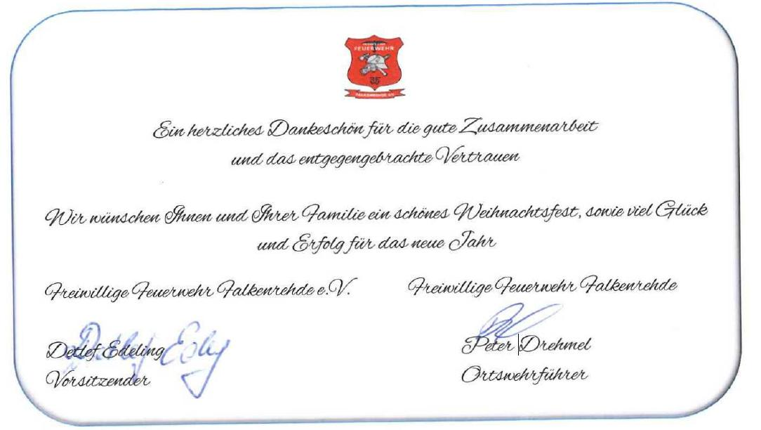 Weihnachtsgrüße der Freiwilligen Feuerwehr Falkenrehde und des Fördervereins