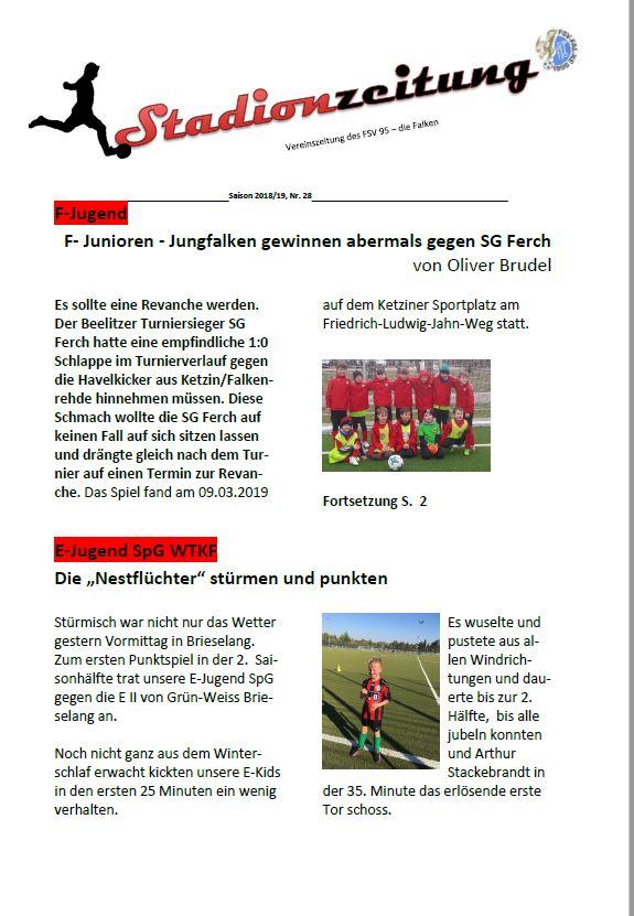Stadionzeitung Nr. 28 erschienen