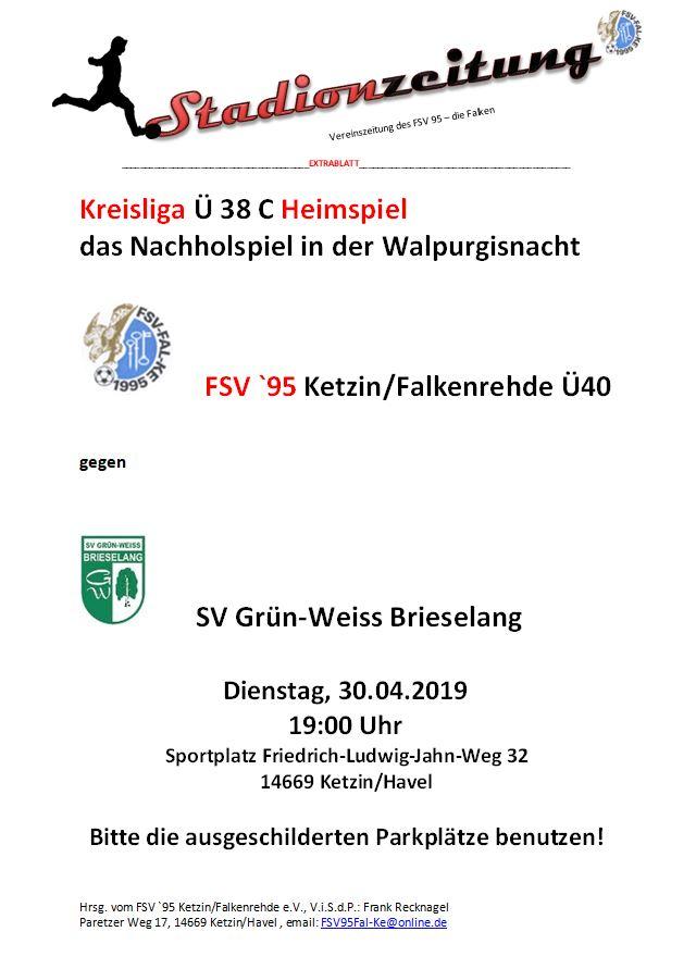 Nachholspiel: Grün-Weiss Brieselang in Ketzin
