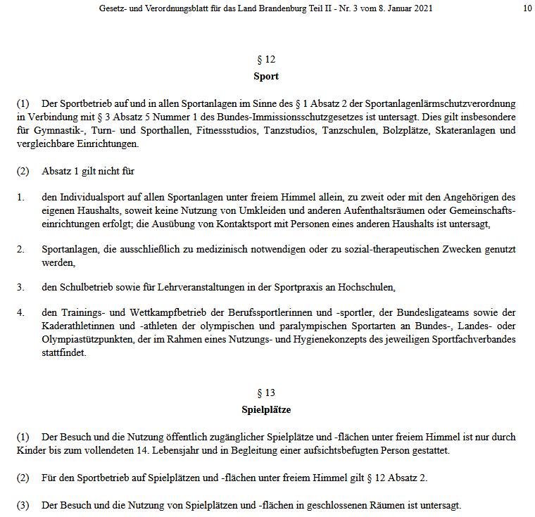 § 12 Eindämmungsverordnung