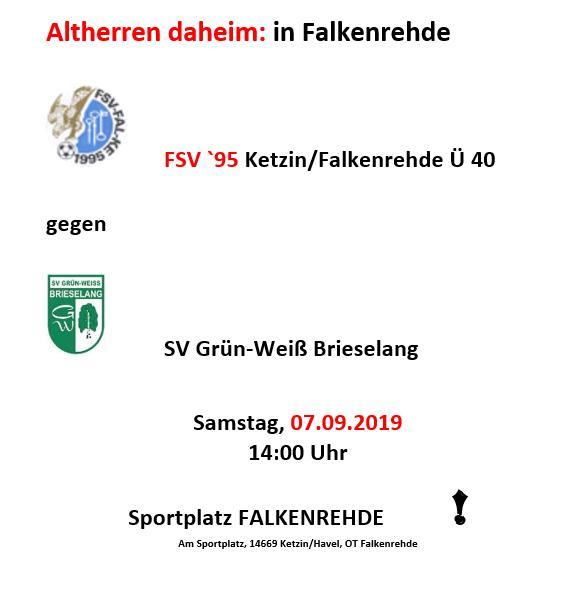 Kreispokal: Ü 38er Samstag in Falkenrehde!