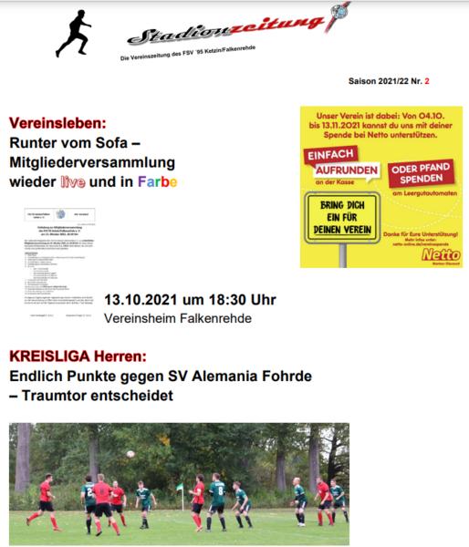 Stadionzeitung Saison 21/22 Nr. 2