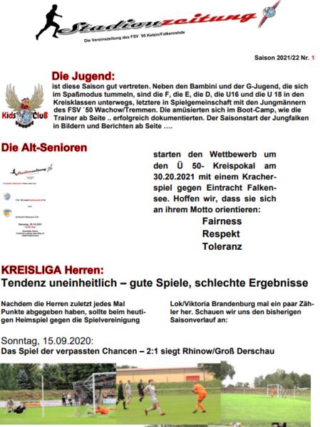 Stadionzeitung 2021/22 - Nr. 1