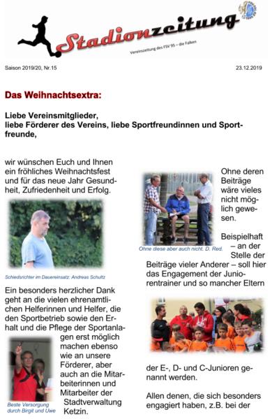 Stadionzeitung Nr. 15 - Weihnachtsausgabe
